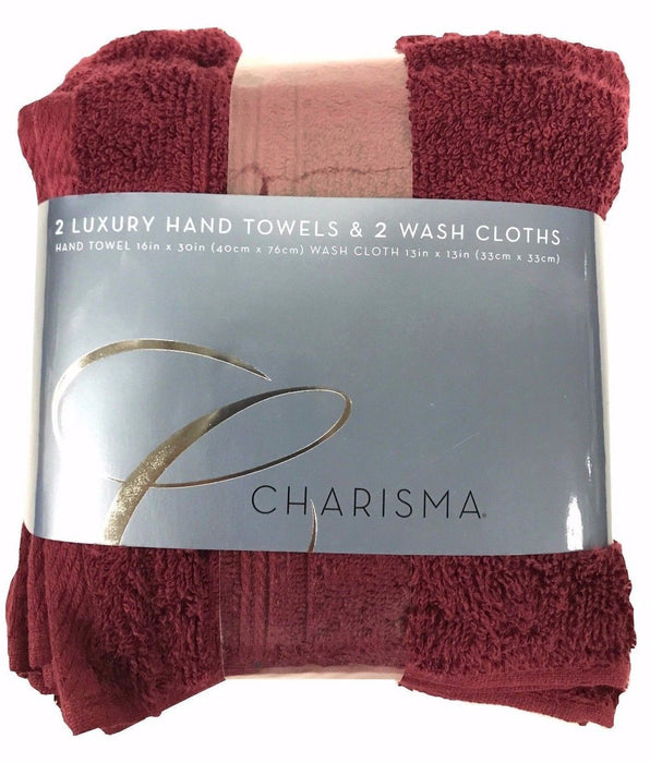 "Charisma 2 Luxury Hand Towels 16x30"" & 2 Wash Cloths 13x13"" Cotton 4 Pack - Port"