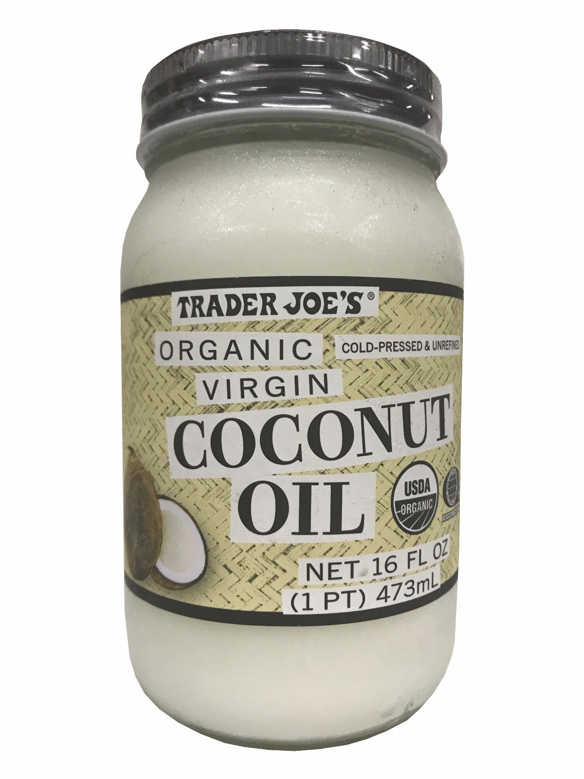 Trader Joe's Organic Virgin Coconut Oil Cold-pressed & Unrefined 16 FL OZ