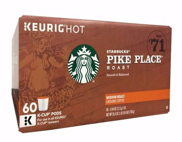 Starbucks Keurig Hot Pike Place Medium Roast Ground Coffee 60 K-Cup Pods 26.4 OZ