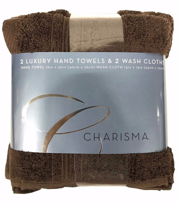 "Charisma 2 Luxury Hand Towels 16x30"" & 2 Wash Cloths 13x13"" 4 Pack - Coffee Bean"