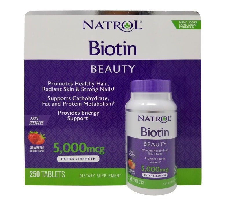 Natrol Biotin Beauty 5000mcg Extra Strength Dietary Supplement 250 Tablets