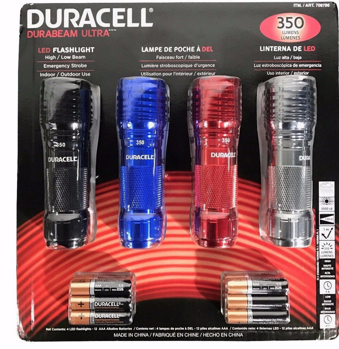 Duracell Durabeam Ultra LED Flashlights 350 Lumens Batteries Included 4 Pack