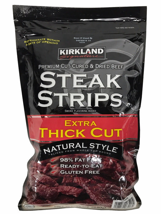 Kirkland Signature Premium Cut Cured & Dried Beef Steak Strips Thick Cut 12 OZ