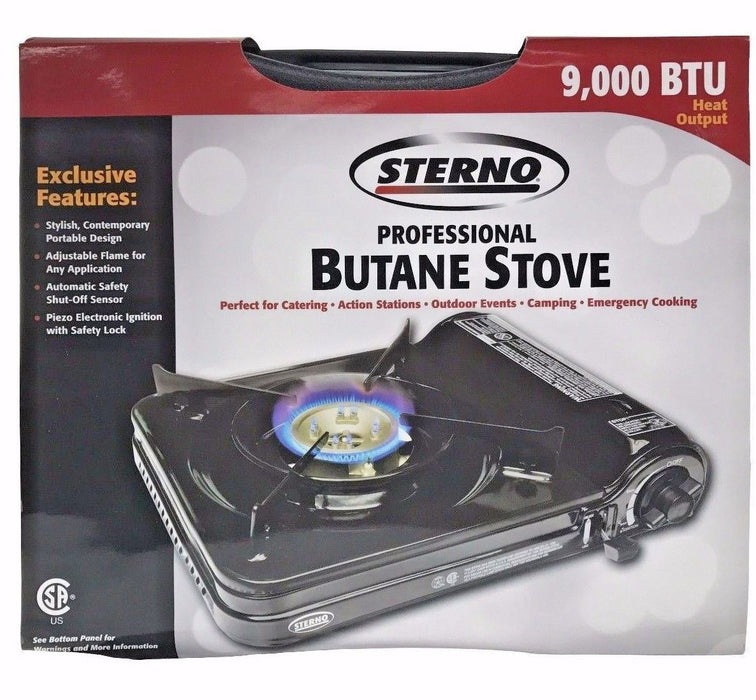 Sterno Professional Butane Portable Stove Adj.Flame Electr.Ignition 9000 BTU