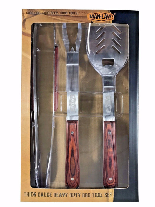 Man Law Thick Gauge Heavy Duty 3 Piece BBQ Premium Tool Set - Spatula/Tongs/Fork