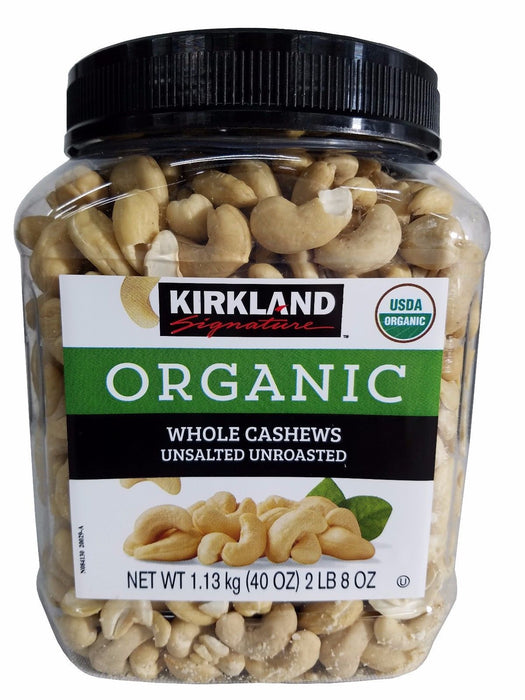 Kirkland Signature Organic Whole Cashews Unsalted Unroasted 40oz (1.13 Kg)