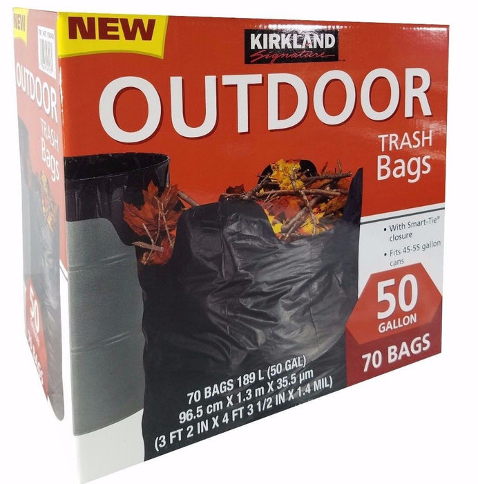 Kirkland Signature 50 Gallon Outdoor Trash Bags with Smart Tie Closure 70 Bags