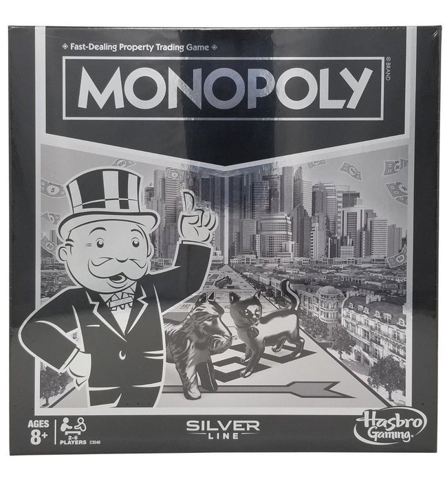 Monopoly Property Trading Board Game Silver Line Hasbro Gaming 2-6 Players