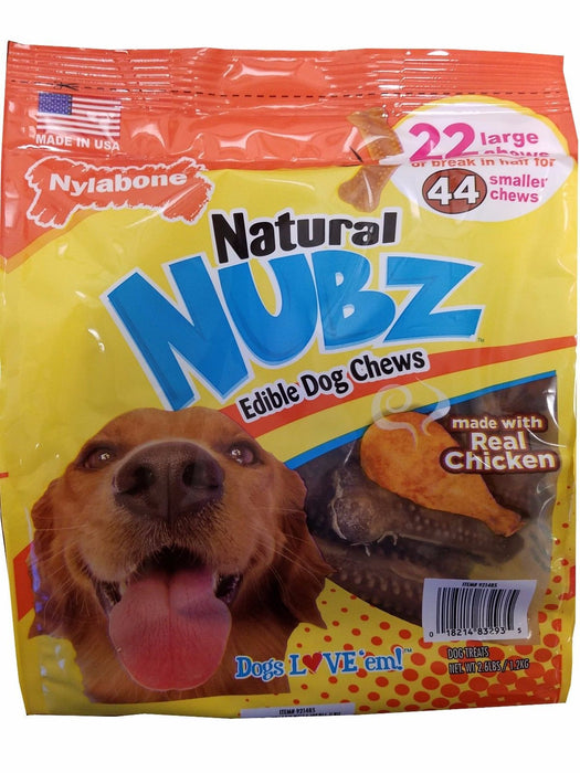 Nylabone Natural NUBZ Edible Dog Treats 2.6lb Real Chicken 22 Large Chews