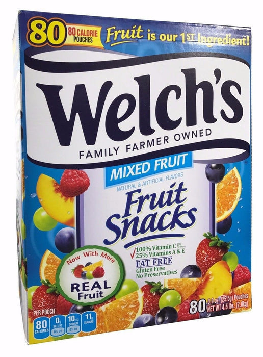 Welch's Family Farmer Owned Mixed Fruit Snacks 80 Pouches, Net 4.5 LB