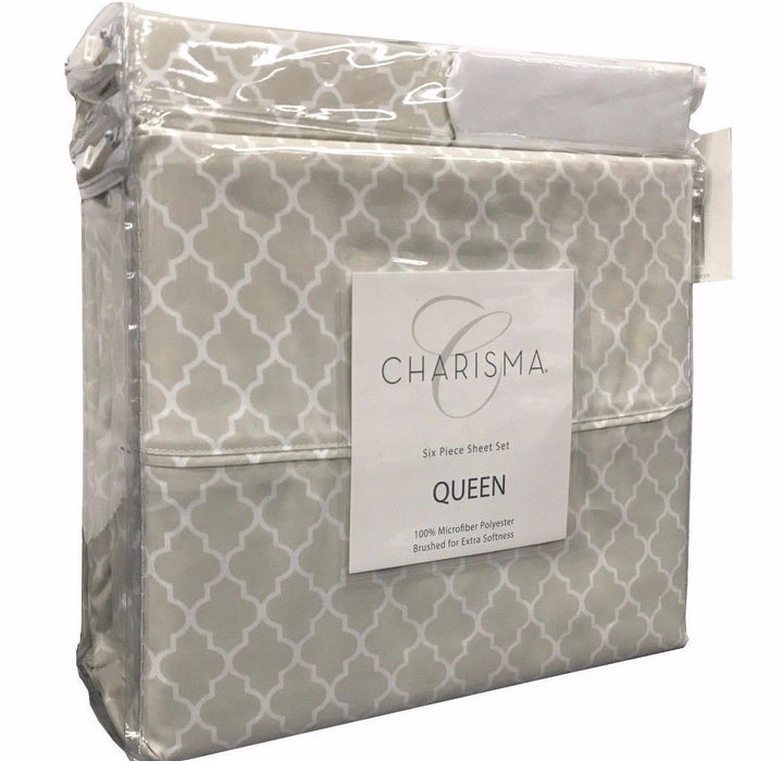 Charisma Queen 6 Piece Sheet Set 100% Microfiber Polyester - Brown Print (9314)