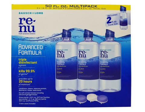Bausch+Lomb Renu Multi-Purpose Solution Advanced Formula 50 FL OZ + 2 Lens Cases