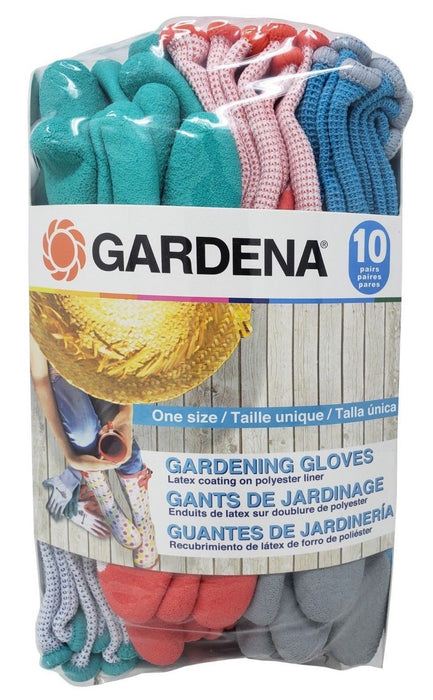 Gardena One Size Gardening Gloves for Outdoor & Indoor Use 10 Pairs