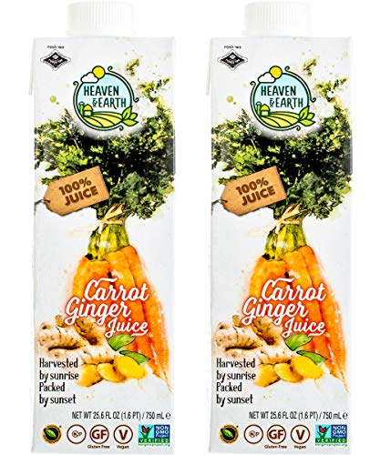 Heaven & Earth, Carrot and Ginger Juice, 25.6oz, 100% Juice (2 Pack)