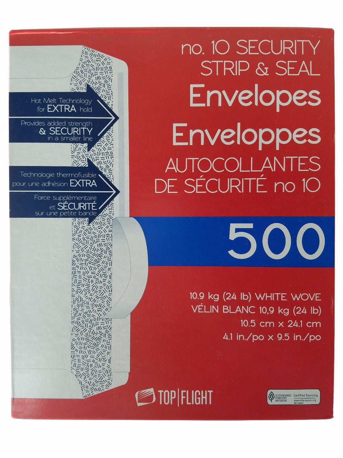 Top Flight No.10 Security Strip & Seal Envelopes 4.1x9.5 in - 500ct