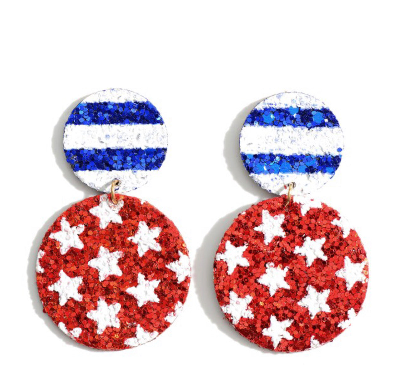 Stars and Bars Glitter Earrings