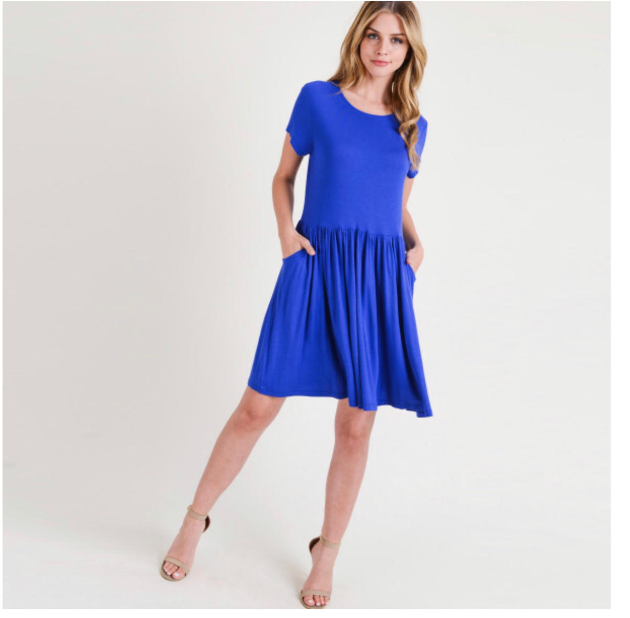 Royal Blue Short Sleeve Baby Doll Dress w/ Front Pockets