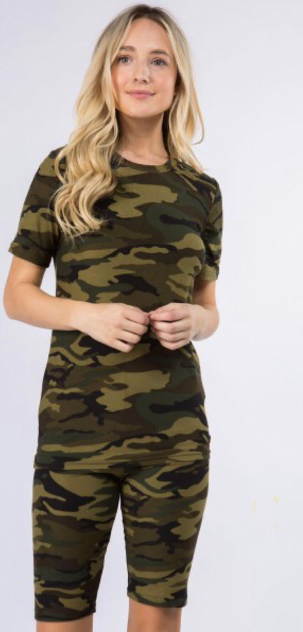 Women's New Mix Brand Camoflauge Short Sleeve Top