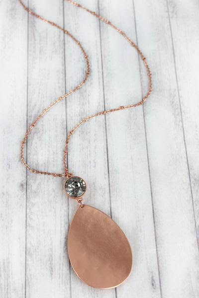 MATTE ROSE GOLDTONE CURVED TEARDROP AND CRYSTAL PENDANT NECKLACE
