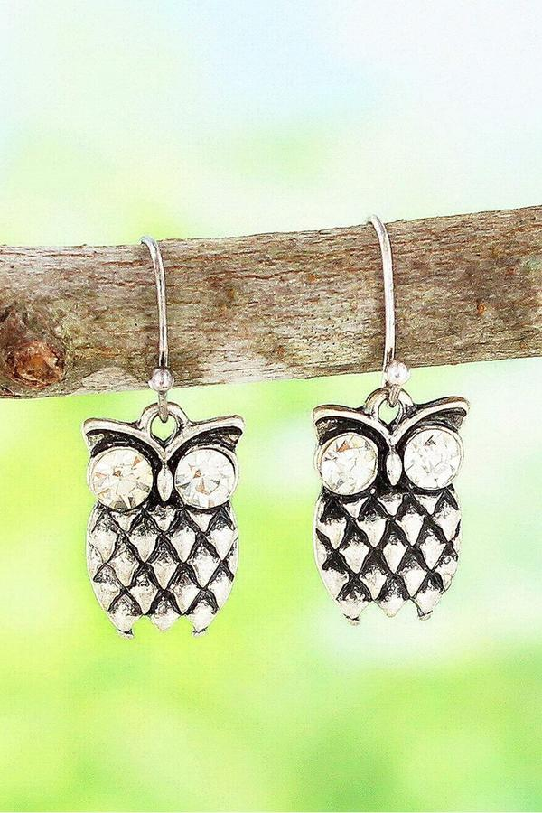 Burnished Silver Tone and Crystal Owl Earrings