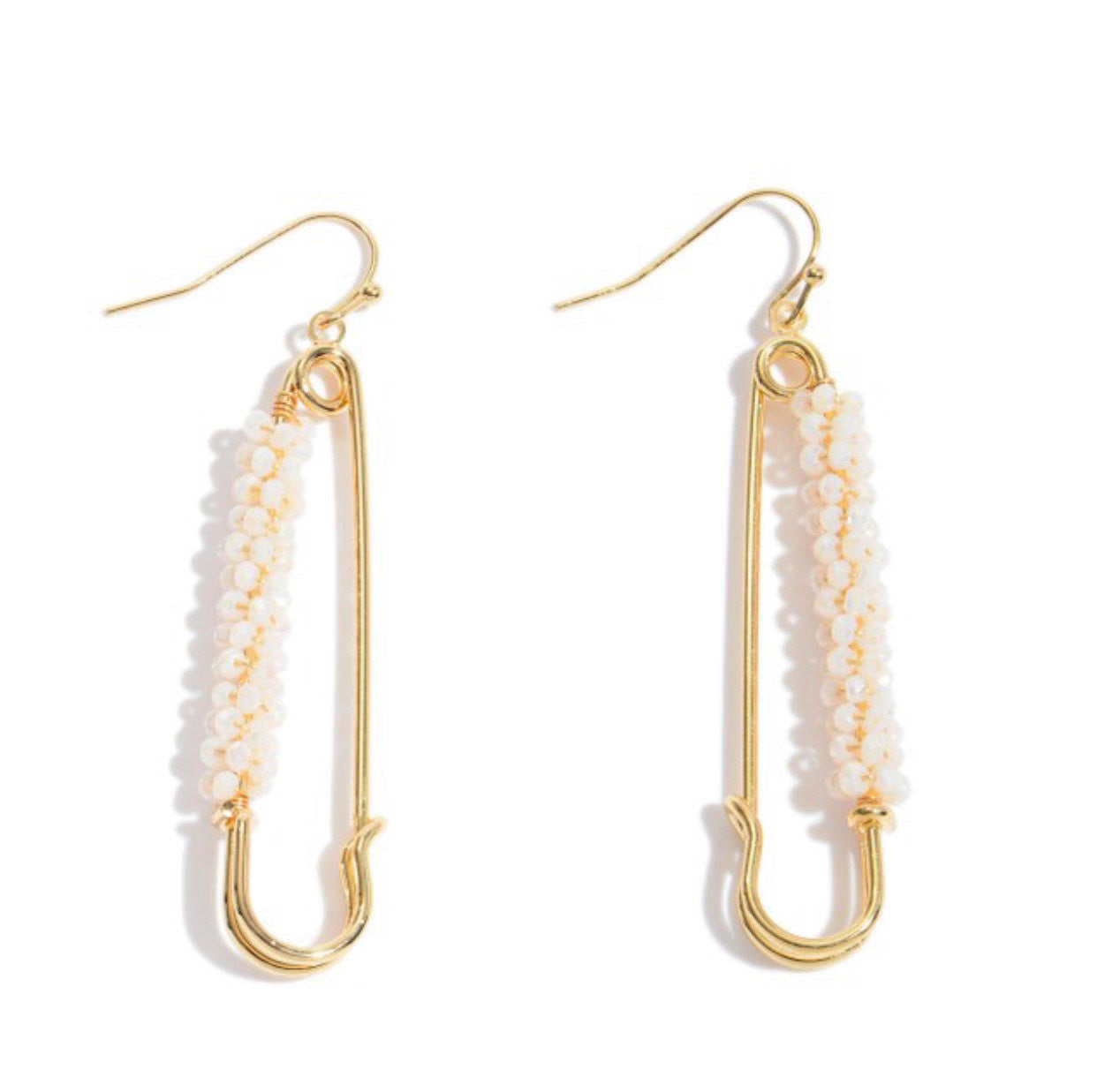 Beaded Safety Pin Drop Earrings in Gold (Natural or Mint)