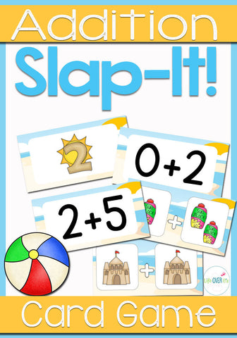 Addition Fact Family Slap-It Card Game Beach Theme