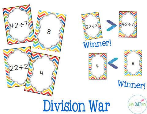 War Card Games Bundle: Multiplication, Division, Large Numbers, Fractions and Decimals