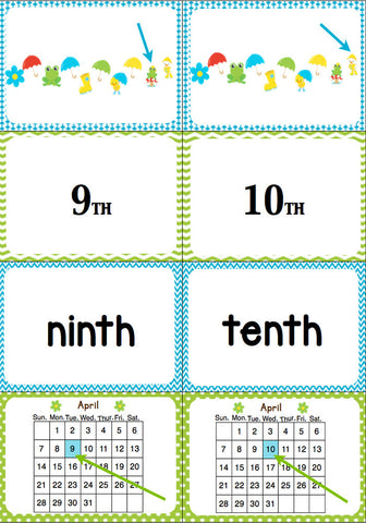 April Ordinal Number Card Game