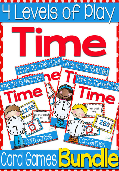 5 Time Card Games for Telling Time (Levels 1,2,3,4)