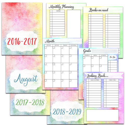 Homeschool Planner Watercolor