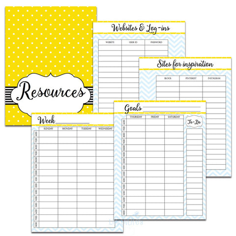Homeschool Planner Yellow and Blue