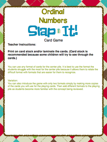 December Ordinal Numbers Card Game