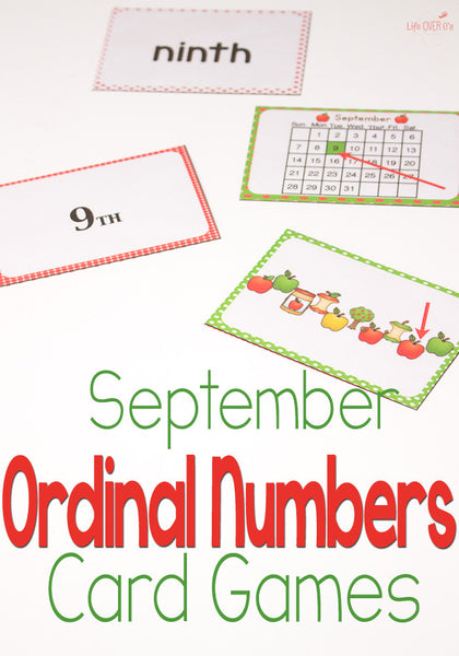 September Ordinal Numbers Card Game