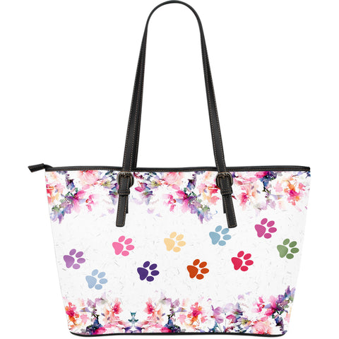 Mixed paw prints large tote bag