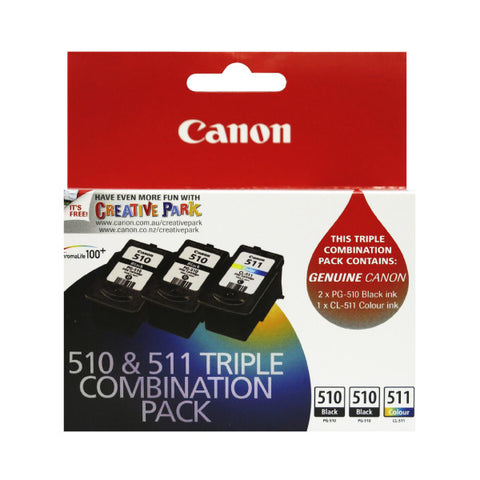 Canon 510 and 511 Triple Combination Ink Pack