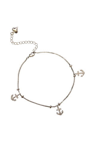 Anchor Charm Anklet <br/> Sterling Silver