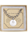 Angel Coin Oval Link Charm Bracelet