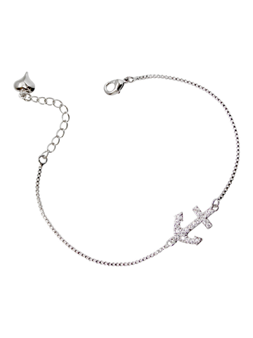 CZ Pave Anchor Bracelet, Platinum Plated