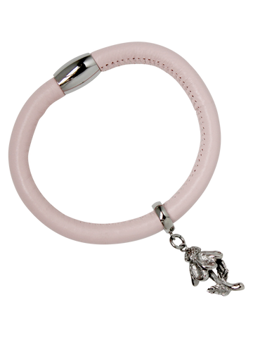 Coneflower Charm Bracelet, Pink Leather