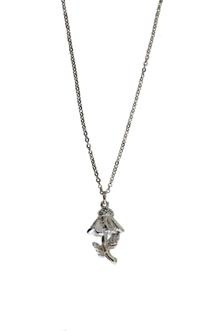 "18"" Coneflower Charm Necklace - Silver"