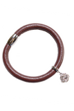 Rose Charm Bracelet, Maroon Leather