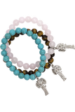 Tiger's Eye Angel Charm Bracelet