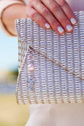 """Breast Cancer"" Pink Pearl Bag Charm, Stainless"
