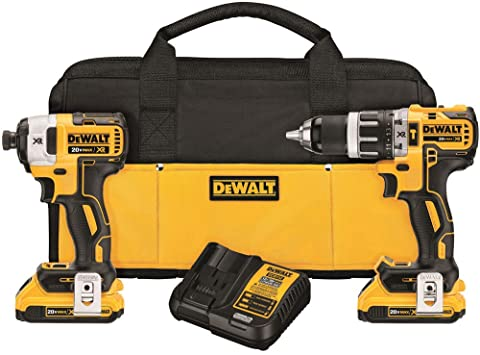 DEWALT 20V MAX XR Lithium-Ion Cordless Brushless Hammer Drill/Impact Combo Kit (2-Tool) with (2) Batteries 2Ah and Charger