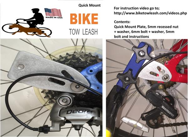 Bike Tow Leash Quick Mount for Right or Left Side Attachment