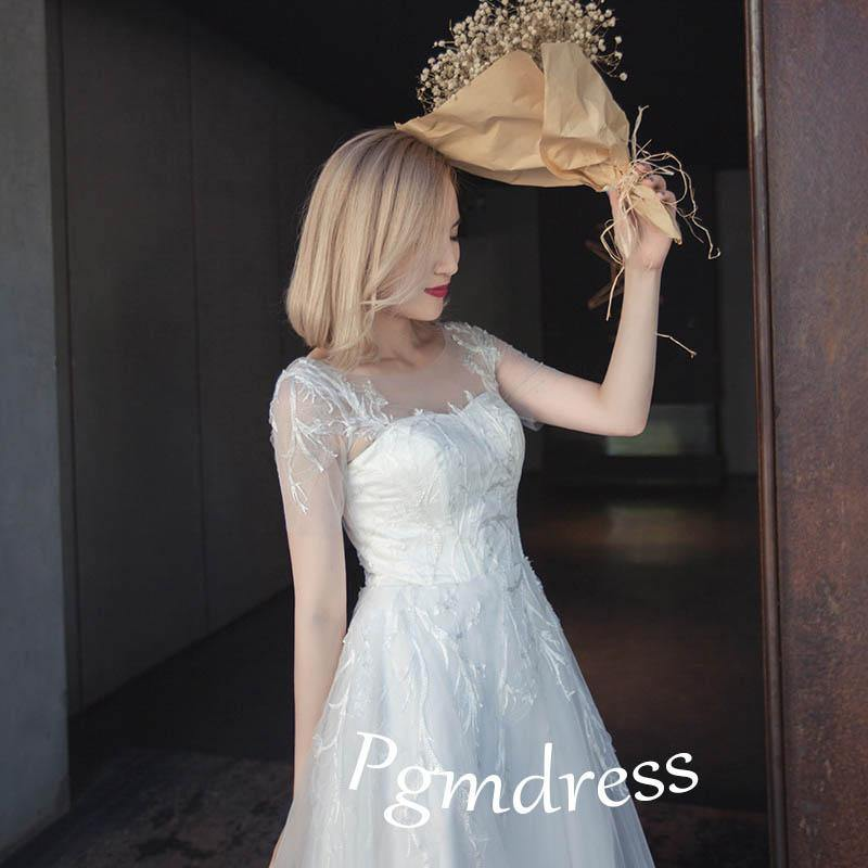 1/4 Sleeves Tulle Wedding Dresses With Lace Applique  WD166 - Pgmdress