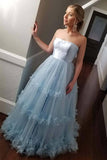 Strapless A-line Light Blue Ball Gown Prom Dress Evening Dress-Pgmdress