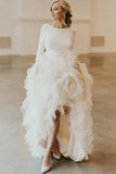 A-Line Round Neck Court Train Tulle Wedding Dress with Long Sleeves  WD307-Pgmdress