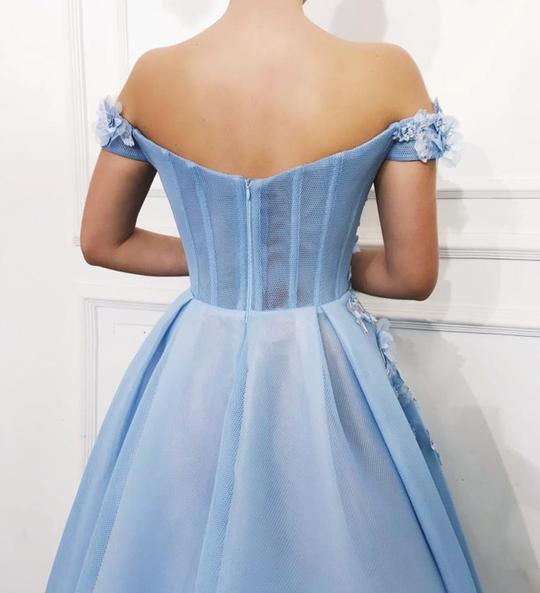 Sky Blue Off the Shoulder Flower Appliques Long Beautiful Prom Dress  PG845