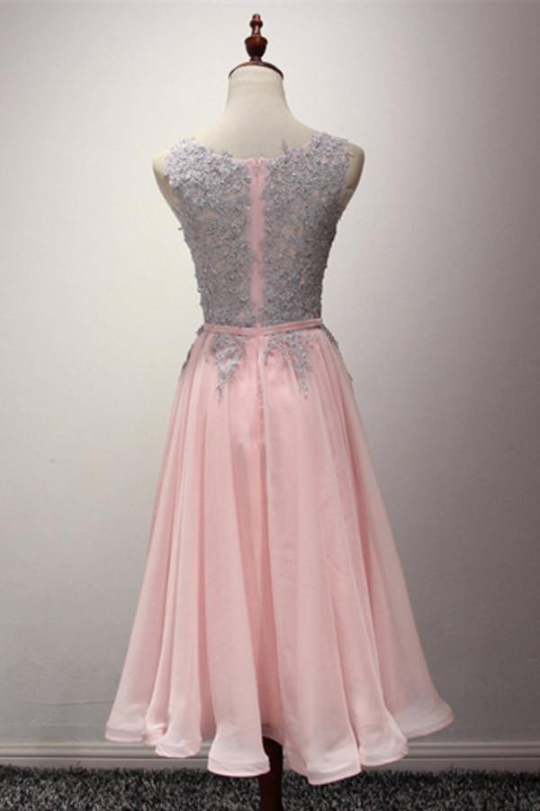 A-Line Appliques Ribbons Scoop Knee-Length Homecoming Dress PG145 - Pgmdress